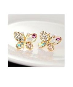 Finely Crafted Inspired Butterfly Crystals Gold Plated Stud Earrings