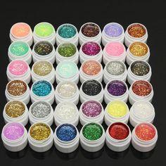 1 Pot 36 Colors Glitter UV Gel Builder Nail Art Polish (random) by Bladez Gel Polish Colors, Gel Nail Polish, Gel Nails, Manicure, Coffin Nails, Nail Colors, Lampe Uv, Puerto Rico, Jars