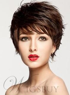 #WigsBuy - #WigsBuy Attractive Straight Short Layered Capless Wig Synthetic Hair Wig - AdoreWe.com