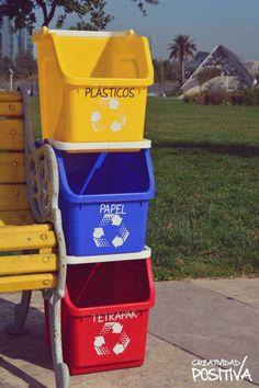 Contenedores de reciclaje prácticos y coloridos para separar los residuos en cualquier ambiente. Santiago Chile, Canning, Recycling Bins, Recycling Projects, Remainders, Environment, Pull Apart, Home Canning, Conservation