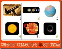 Calendar Connections Printables Cards...Astronomy Theme Target Grade Level: 3-6, although can easily be used for younger grades too!