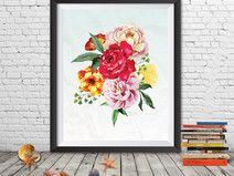 Floral Printable, Floral Wreath Art, Floral Poster