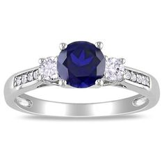 6.0mm Lab-Created Blue and White Sapphire Three Stone Ring in 10K White Gold with Diamond Accents  - Peoples Jewellers