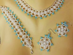 Bridal Tatting Frivolite Necklace and Earrings por carmentatting