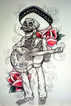 Tattoo old school rose day of the dead ideas Chicano Tattoos Sleeve, Tattoos Skull, Pin Up Tattoos, Trendy Tattoos, Leg Tattoos, Tatoos, Picture Tattoos, Day Of The Dead Tattoo Designs, Day Of The Dead Tattoo Sleeve