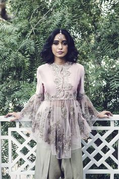 Sayani wears a Jayanti Reddy bell-sleeve blouse with dhoti pants Trendy Dresses, Casual Dresses, Fashion Dresses, Country Wedding Dresses, New Wedding Dresses, Dress Indian Style, Indian Dresses, Pakistani Outfits, Indian Outfits