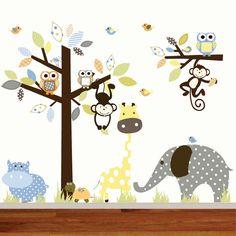 Monos de Childrens pared calcomanía Jungle Safari árbol elefante jirafa vinilo Wall Decals vivero