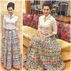 """No doubt Bridal lehenga which is a dream outfit of every girl . But after few years of marriage a question popup """"How to reuse bridal lehenga""""? Indian Gowns Dresses, Indian Fashion Dresses, Dress Indian Style, Indian Designer Outfits, Indian Outfits, Skirt Fashion, Stylish Dress Designs, Stylish Dresses, Long Skirt Outfits"""