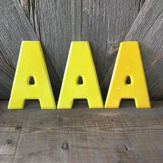 Vintage Metal Letter A Old Sign Yellow Medium Small 7 inch metal Letter {Pick One} Wall Hanging, Wedding Party Decor, Antique Alphabet Vintage Metal, Vintage Looks, Vintage Decor, Vintage Items, Phonics Reading, Metal Letters, Old Signs, Pick One, Garden Art