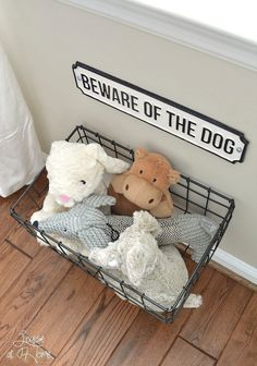 From dog bowls, pet beds, toys & tech, to pet gates, doggy doors & more. Check out our dog room decor wrap-up for all the best dog room decorating ideas. Animal Room, Animal Decor, Dog Toy Storage, Diy Storage, Storage Ideas, Creative Storage, Hanging Storage, Storage Baskets, Photo Storage