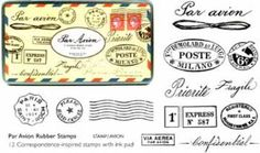 Set of rubber stamps with postal theme.