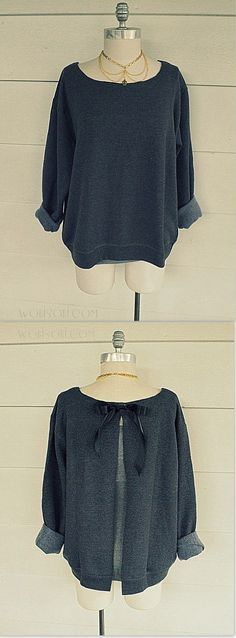 Sweatshirt Refashion knockoff – EASY! The bow and opening is in the back. Love this.: