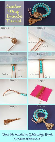 How to make a DIY Leather Wrap Bracelet from Golden Age Beads. Perfect for spring/summer 2015!