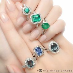 A cluster of color! #Alexandrite #Sapphire #Emerald #DiamondHalo #TotallyDevoted #ShowMeYourRings #BigGems | Want this look? Click the link in our bio! |