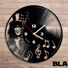 Slash guns and roses vinyl record wall clock - ArtGrain Vinyl Record Clock, Record Wall, Vinyl Records, Cd Diy, Guns And Roses, Clock Art, Unique Wall Clocks, Wooden Watch, Vinyl Art