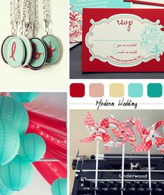 Red Aqua Modern Wedding Palette    Inspiration Colors: Red, Salmon, Vanilla, Aqua, Teal.      Elements: Pinwheels, paper lanterns, embroidery, bold lines and colors.
