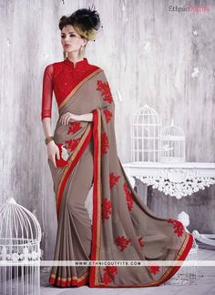 66d2773110a24 Brown Georgette Saree with Diamond Work Embroidery Saree