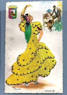 Vtg Postcard Spain Flamenco Lady Dancer Yellow Dress Malaga Silk Embroidered