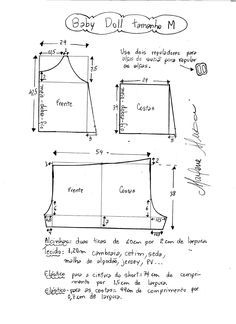 Patrón para hacer un precioso y cómodo conjunto para dormir, muy practico y fácil de hacer. Tallas desde la XS hasta la XXL.