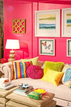 color explosion! #livingroom #pillows #colorful #pink