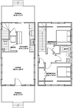 My Shed Plans - Make this a one bedroom with the ensuite above the kitchen and a large walk through closet. PDF house plans, garage plans, shed plans. - Now You Can Build ANY Shed In A Weekend Even If You've Zero Woodworking Experience! Cabin Floor Plans, Garage House Plans, Small House Plans, Tiny House 2 Bedroom, Narrow House, Shed Homes, Garage Apartments, Apartment Plans, Building A Shed