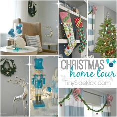 It's Beginning to Look A Lot Like Christmas {Christmas Party Tour of Homes} at TinySidekick.com Winterwonderland and Fun traditional Red and Green Christmas Decor #Christmasdecorations