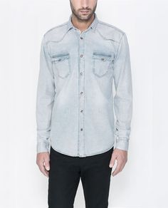 Image 1 of CHECKED DENIM SHIRT from Zara