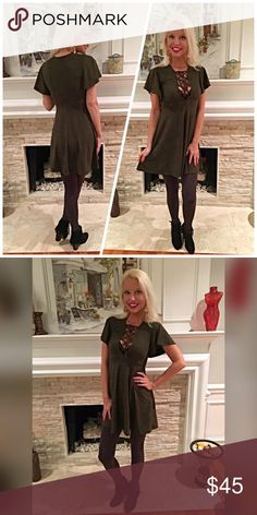 Stunning faux suede olive lace up top dress💋 Flutter sleeves with a fit n flare cut! Absolutely fabulous!! Can be worn as mini dress with tall boots or tunic style💕 Dresses