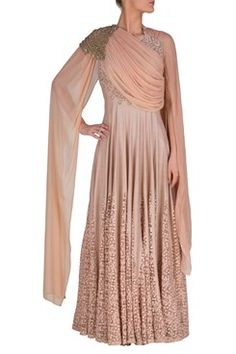 Anarkali, Ash pink draped anarkali suit