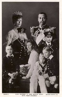 King George V and Queen Mary with their children.