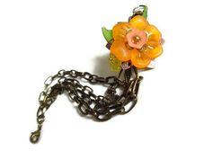 Antique Brass Lucite flower and Swarovski Flower by PinkCupcakeJC, $18.00