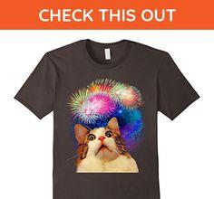 Mens 4th of July Fireworks Enthralled Cat shirt 2XL Asphalt - Holiday and seasonal shirts (*Amazon Partner-Link)