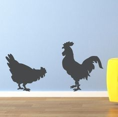 Rooster and Chicken Vinyl Wall Art Decal by StephenEdwardGraphic, $16.00