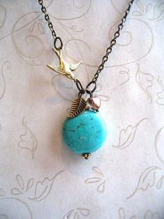 Turquoise Bird Necklace  brass charm by botanicalbird on Etsy, $24.00