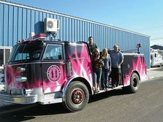 Hot pink truck | Pictured are, L to R, Justin Rau, Tressa Rau holding Thor, Kendra ...