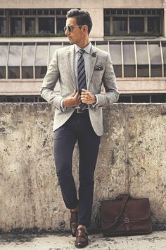 "Gentleman Style 374713631487228741 - thelavishsociety: ""Fancy Friday by WMBW (website) Gentleman Mode, Gentleman Style, Grey Blazer Combinations, Mens Fashion Suits, Mens Suits, Suit Men, Blazer Outfits Men, Herren Outfit, All Black Outfit"