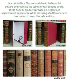 OCD organisation with style - faux book box files form Manor Bindery & 45 best Faux Books images on Pinterest | Bed room Bedroom and Books