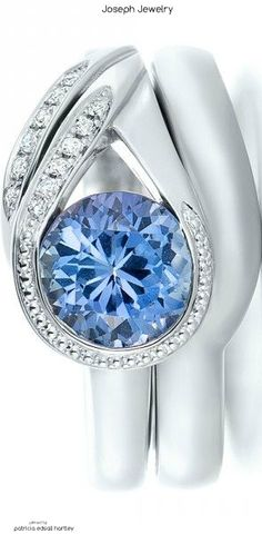 Custom Wrapped Blue Sapphire and Diamond Engagement Ring
