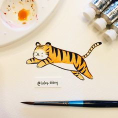Jumping tiger  unfortunately my hand accidentally smudged his tail  I do that a lot though... I don't realize that the paint's not quite dry and get excited to add more details  need to have more patience, haha  - - #illustration #illustrationoftheday #drawing #drawingoftheday #art #instaart #instaartist #sketch #sketchbook #doodle #paint #painting #watercolor #cute #tiger #jumpingtiger #letigre #bigcat #cat #catsofinstagram #playtime #jumping #practice #winsorandnewton #the100dayproj...