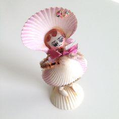 Vintage Sweet Sea Shell Figurine - Pink Precious Rosy Cheeked Girl Souvenir from Norfolk Botanical Gardens