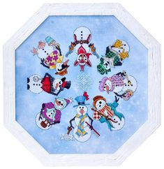 SNOWMEN ALA ROUND  Counted Cross Stitch Pattern by TheAngelsNook