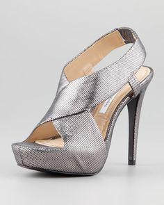 Zia Slingback Metallic Platform Sandal by Diane von Furstenberg at Neiman Marcus.