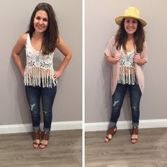 We're a little ⓞⓑⓢⓔⓢⓢⓔⓓ with this new crop! It has all of our favorite things in one! We can't get enough of the lace bodice with the fringe details! Is Spring here yet? We can't wait a minute longer to wear this top! - $27   We paired it with our new, blush colored, open - knit cardigan! - $29 #ootd #newarrivals #musthave #springfashion #croptop #fringe #apricotlanedesmoines #shoplocal