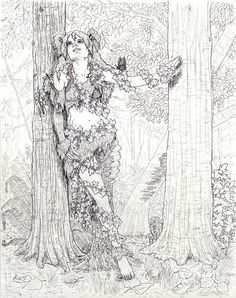 Dryad in the Forest Line Art by angelvi