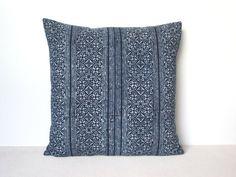 Indigo blue batik Hmong textile cushion cover by frompastopresent, $42.00