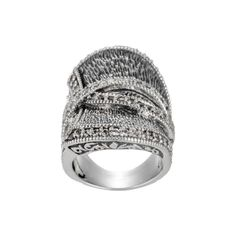 Sterling Silver & White Sapphire Textured Ring