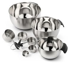 Elite Kitchenware Stainless Steel Mixing Bowls and Measuring Cups Set.  Intelligently designed complete set with commercial grade stainless steel, Easy Pour Spouts™, non-slip rubber bottoms, Sure Grab Handles™.  Won't bend or break like other metal or plastic bowls.  Clean up is quick and easy, dishwasher safe.  Lifetime Guaranteed.  The perfect set for all kitchen needs.  Sold exclusively on Amazon.com