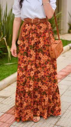 Floral Skirt Outfits, Crop Top Outfits, Modest Outfits, Casual Dresses, Casual Outfits, Dress Indian Style, Indian Outfits, Cute Fashion, Floral Fashion