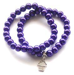 Purple Pearl Bracelets with Cupcake Charm by beadingshaz on Etsy, £6.50