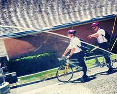 LDS missionaries serving as a team!  Love those boys on bikes...or bike! haha www.18nineteen.com Lds Missionaries, Missionary Mom, Lds Temples, A Team, Jesus Christ, Haha, Bike, Bicycle, Ha Ha
